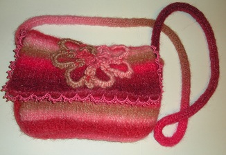 Felted Bag with Tatted Edging and Tatted Yarn decoration