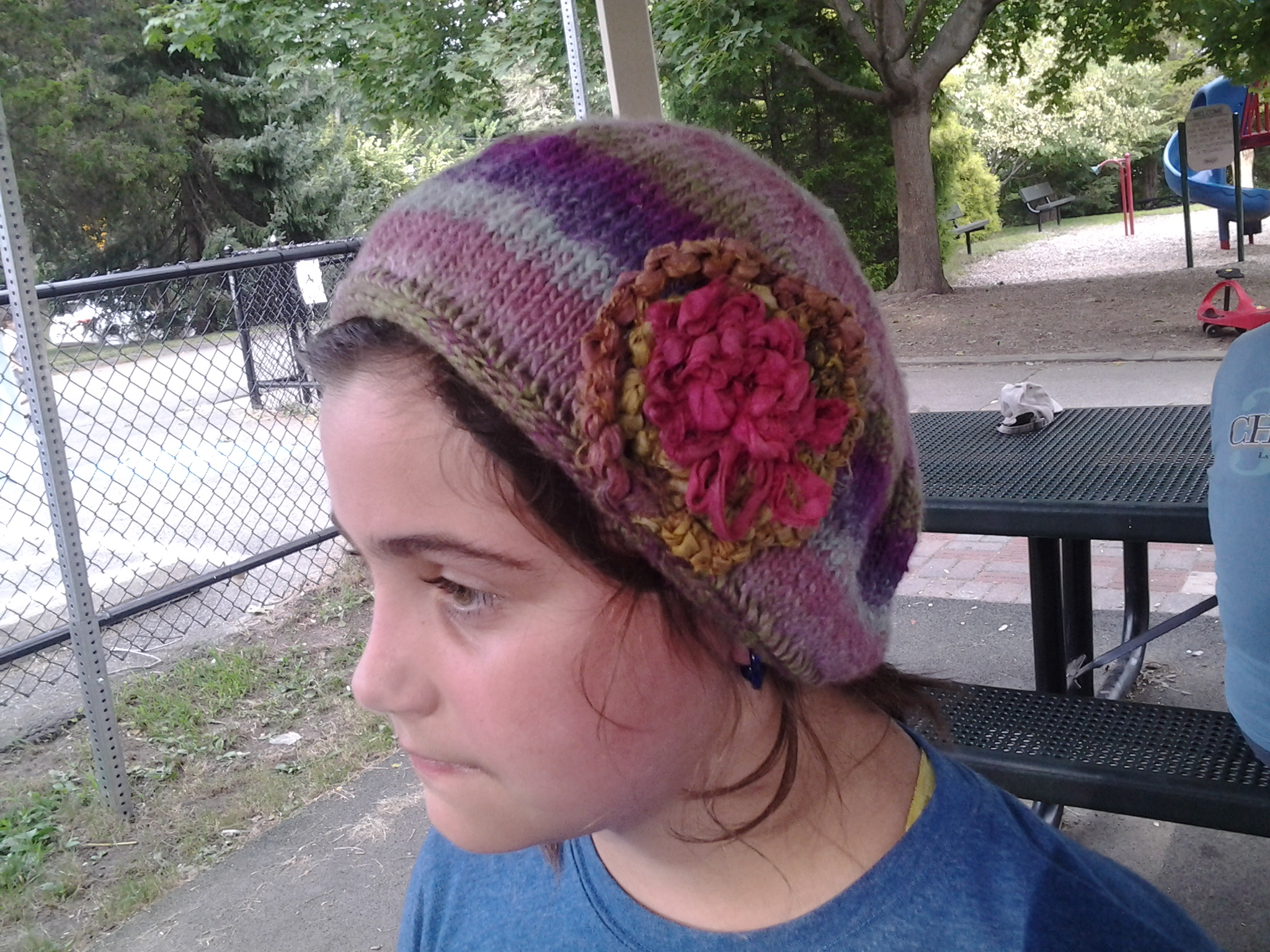 Knitted Hat with tatted decoration